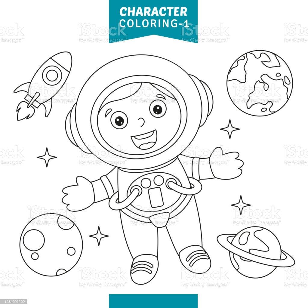 Vektor Cizim Karakter Boyama Sayfasi Stok Vektor Sanati Anaokulu