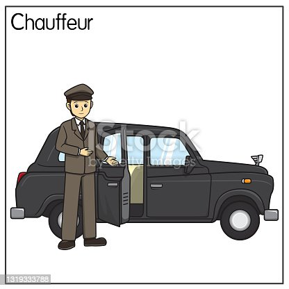 istock Vector illustration of chauffeur, driver isolated on white background. Jobs and occupations concept. Cartoon characters. Education and school kids coloring page, printable, activity, worksheet, flashcard. 1319333788