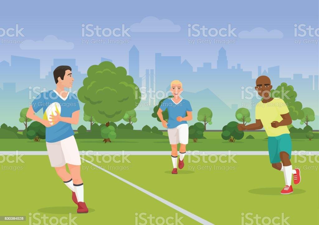 Ilustración de vector de gente alegre y negro jugar rugby en el patio. - ilustración de arte vectorial