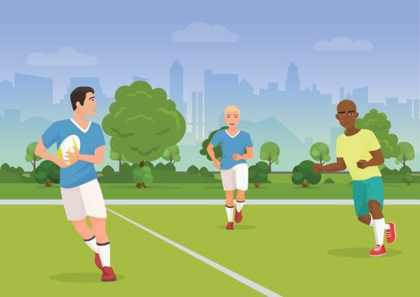 vektor-illustration von fröhlichen schwarzen und weißen menschen rugby auf dem spielplatz zu spielen. - rugby stock-grafiken, -clipart, -cartoons und -symbole