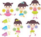 Vector illustration of cheerleaders