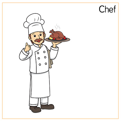 Vector illustration of chef, cook isolated on white background. Jobs and occupations concept. Cartoon characters. Education and school kids coloring page, printable, activity, worksheet, flashcard.