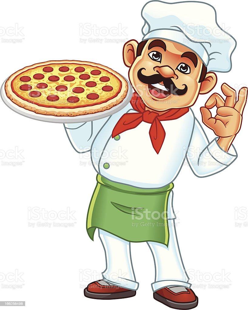 Vector illustration of chef holding pizza vector art illustration