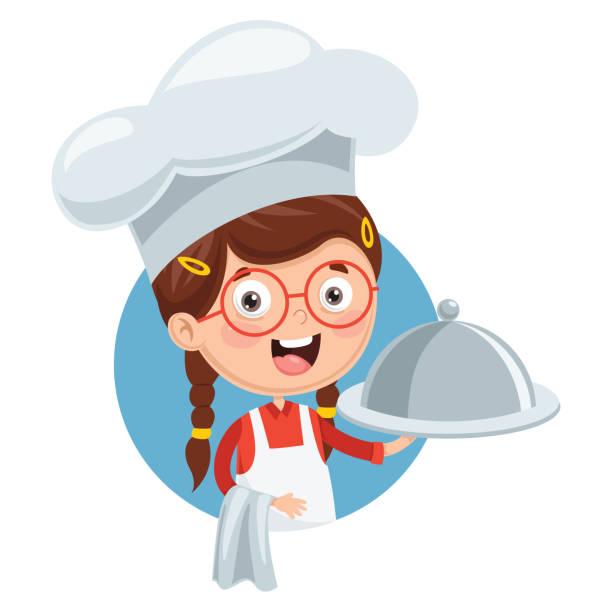 illustrazioni stock, clip art, cartoni animati e icone di tendenza di vector illustration of chef kid cooking - impastare