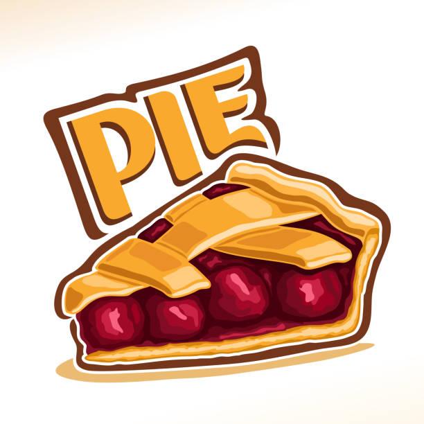vector illustration of cherry pie - pie stock illustrations, clip art, cartoons, & icons