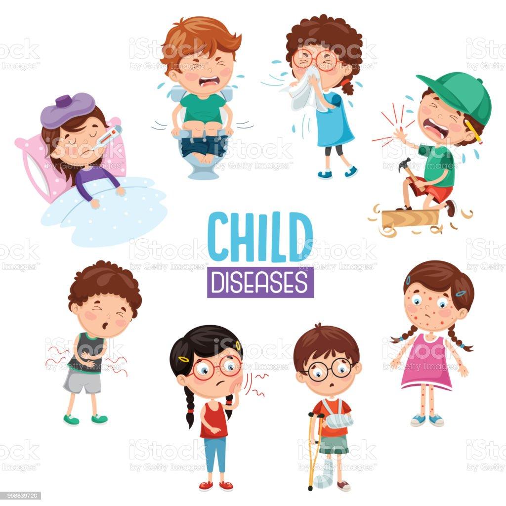 子どもの病気のベクトル イラスト - はしかのベクターアート素材や画像を