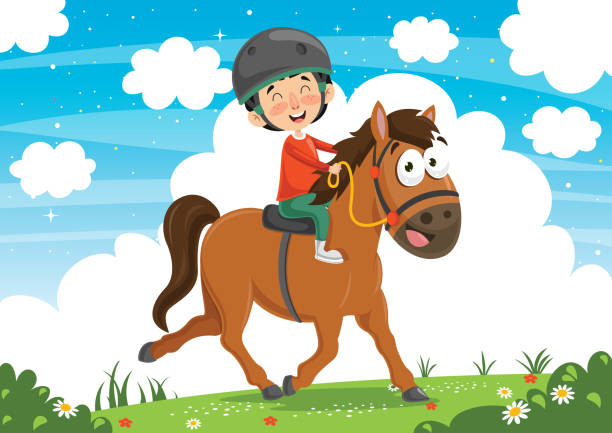 vektor-illustration des kindes reitpferd - reiter stock-grafiken, -clipart, -cartoons und -symbole