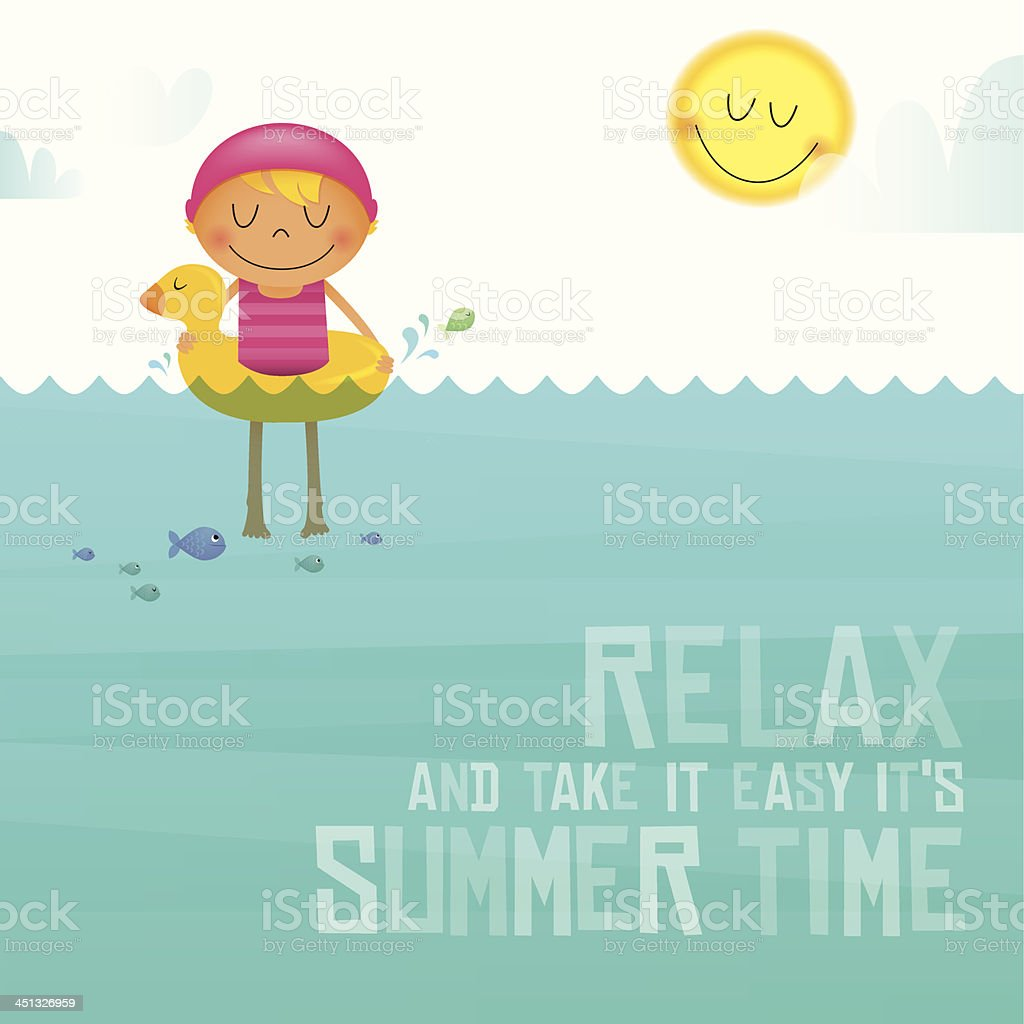 Vector illustration of child swimming vector art illustration