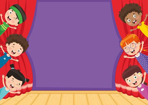 Vector Illustration Of Children At Theatre - Arte vetorial ...