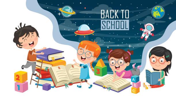 Vector Illustration Of Children Back To School Vector Illustration Of Children Back To School book clipart stock illustrations