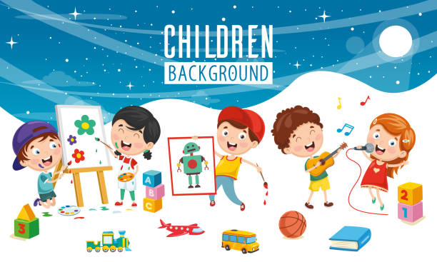 vector illustration of children background - painting activity stock illustrations