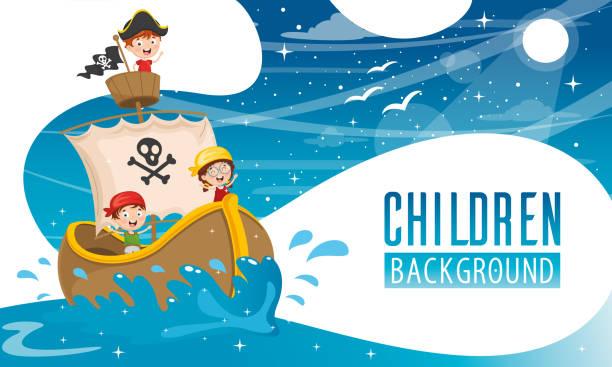 Vector Illustration Of Children Background Vector Illustration Of Children Background pirate ship stock illustrations