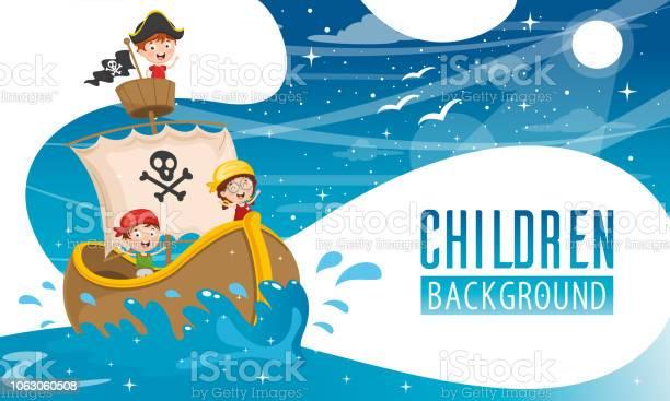 Vector Illustration Of Children Background — стоковая векторная графика и другие изображения на тему Векторная графика
