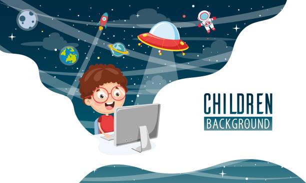 illustrazioni stock, clip art, cartoni animati e icone di tendenza di vector illustration of children background - young digital