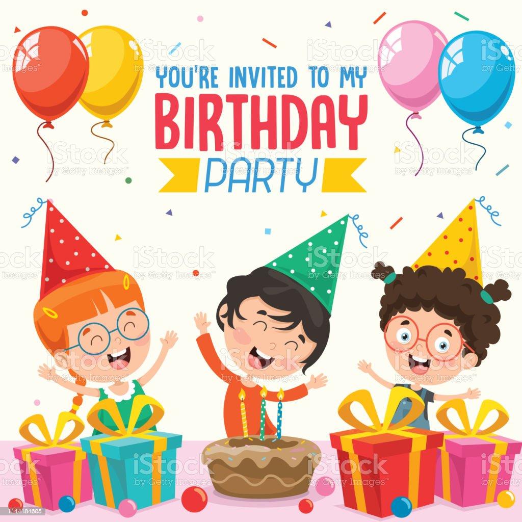 Vector Illustration Of Children Birthday Party Invitation