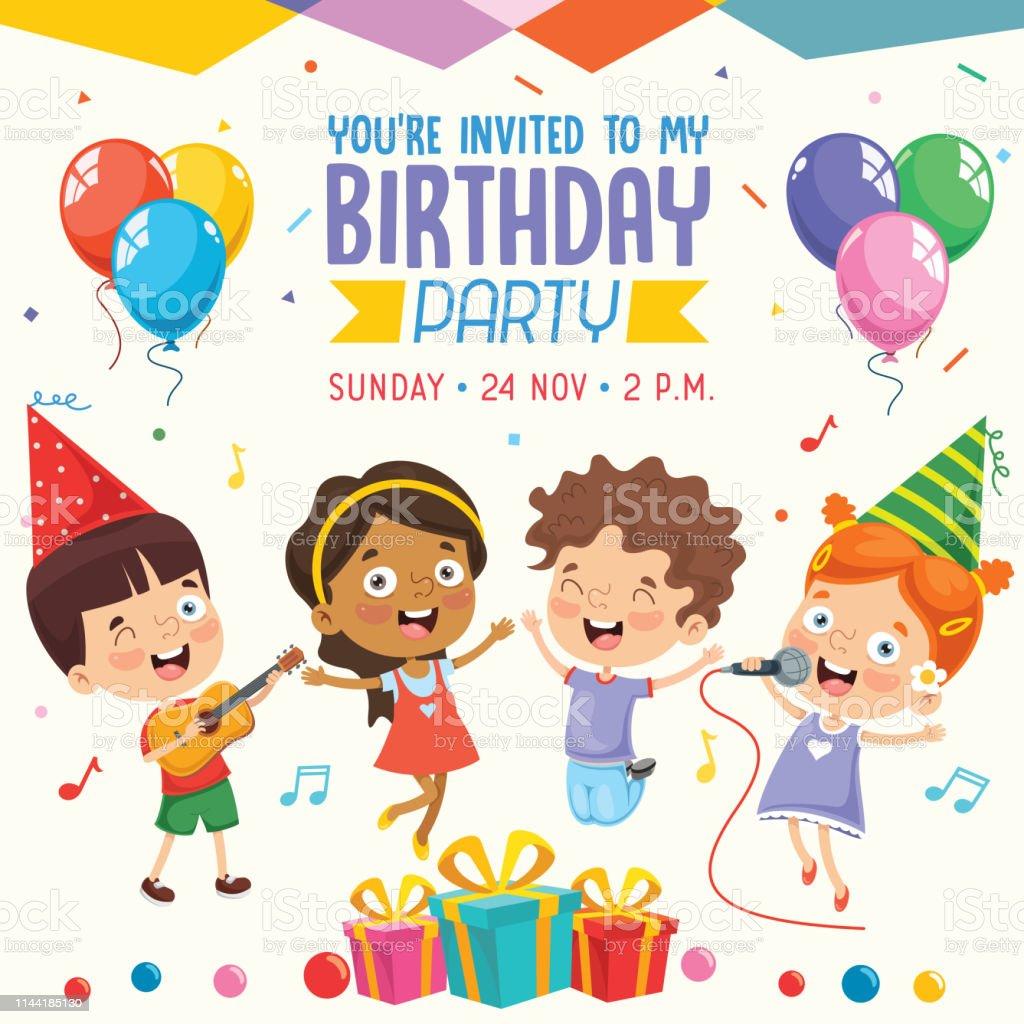 Vector Illustration Of Children Birthday Party Invitation Card ...