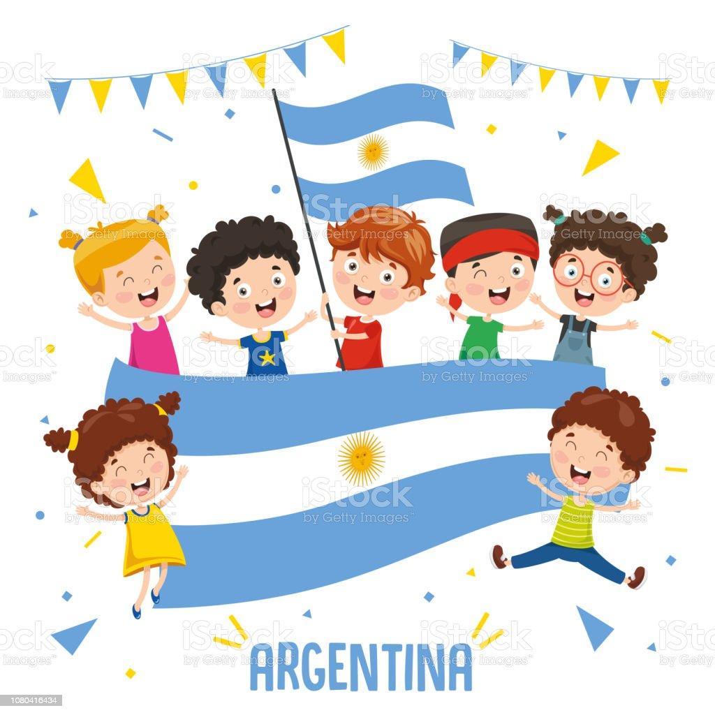 Ilustración vectorial de niños bandera de Argentina - ilustración de arte vectorial
