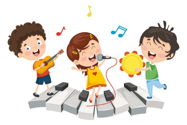 stockillustraties, clipart, cartoons en iconen met vectorillustratie van kinderen muziek - zingen