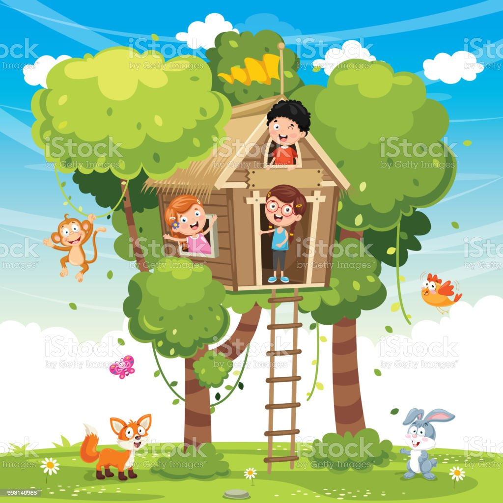 Vector Illustration Of Children Playing At Tree House vector art illustration