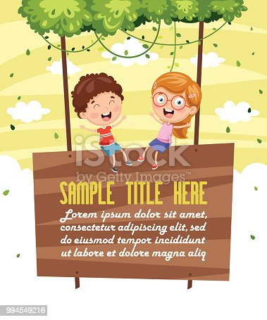 Vector Illustration Of Children Sitting On Signboard
