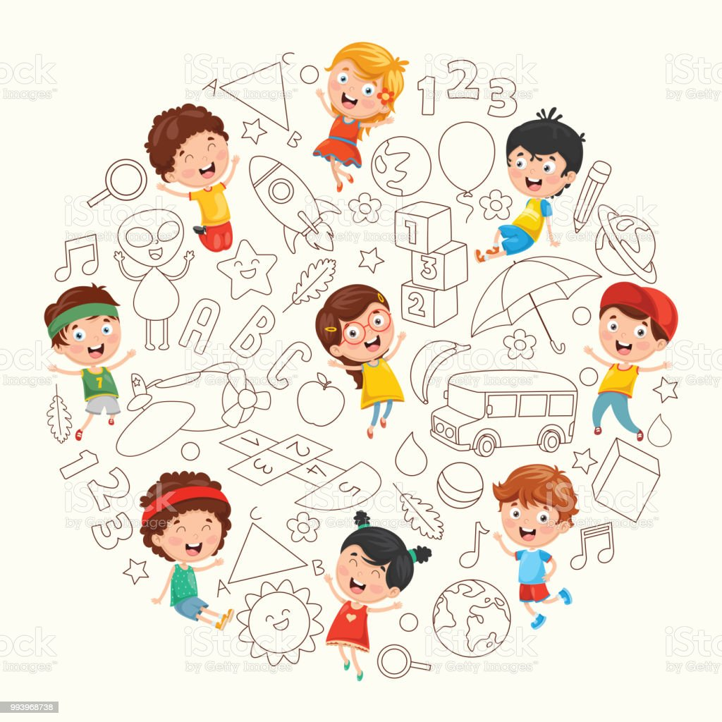 Vector Illustration Of Children Sketching vector art illustration