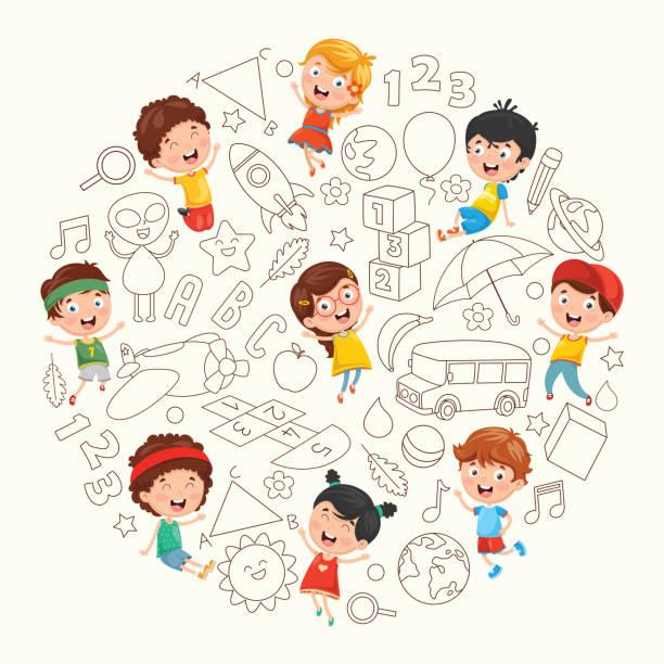 Ilustración vectorial de niños dibujo - ilustración de arte vectorial