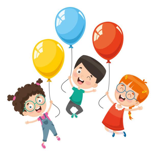 帶氣球的兒童的向量插圖 - gif 幅插畫檔、美工圖案、卡通及圖標