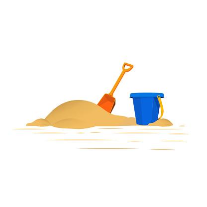 Vector illustration of Children's sand shovels and blue bucket.