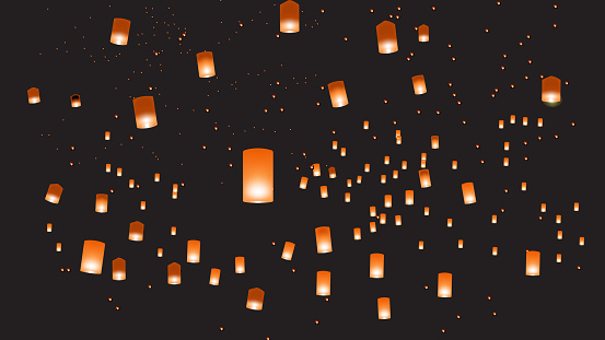 Vector illustration of chinese lanterns in the dark sky