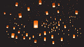 Vector illustration of chinese lanterns in the dark sky. EPS 10