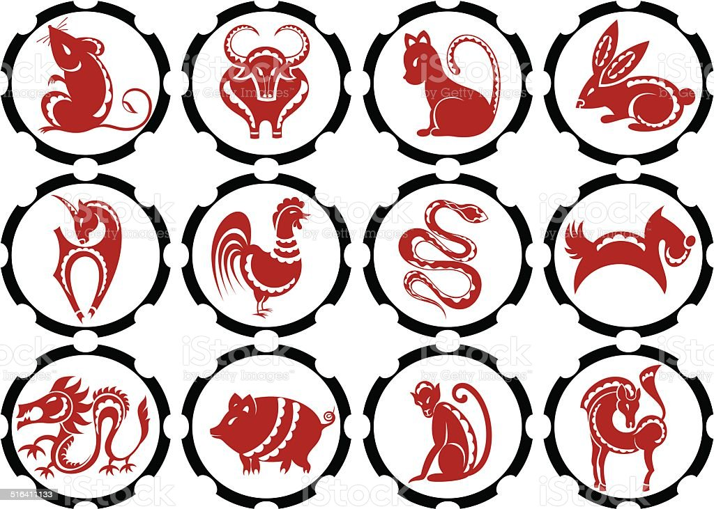 Set of 12 Chinese Zodiac Signs — Stock Vector © tanitue