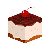 Vector Illustration of Chocolate Cake icon with Cherry, Element of Pastry Food Collection on white