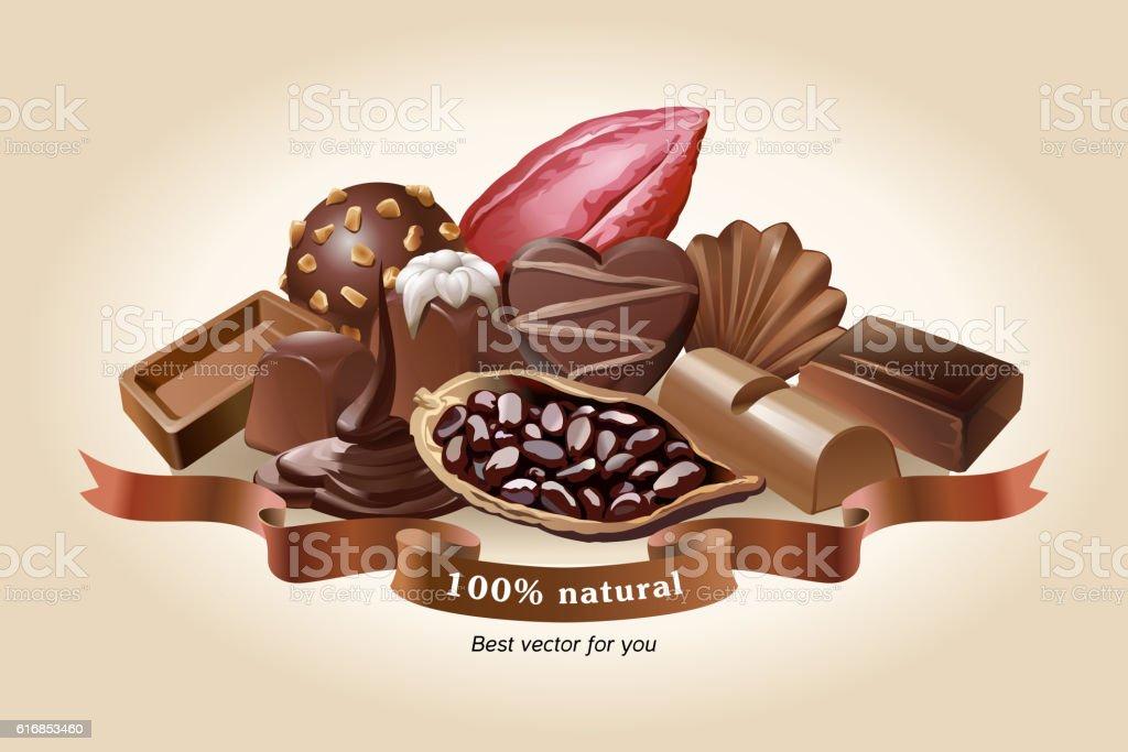 Vector illustration of chocolate sweets vector art illustration