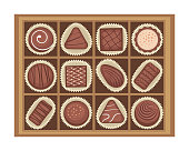 Vector illustration of chocolates candies in a box.