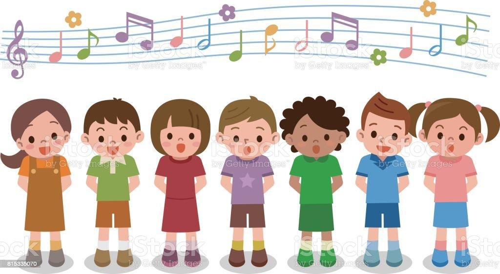 合唱団の女の子と歌を歌っている男の子のベクトル イラスト