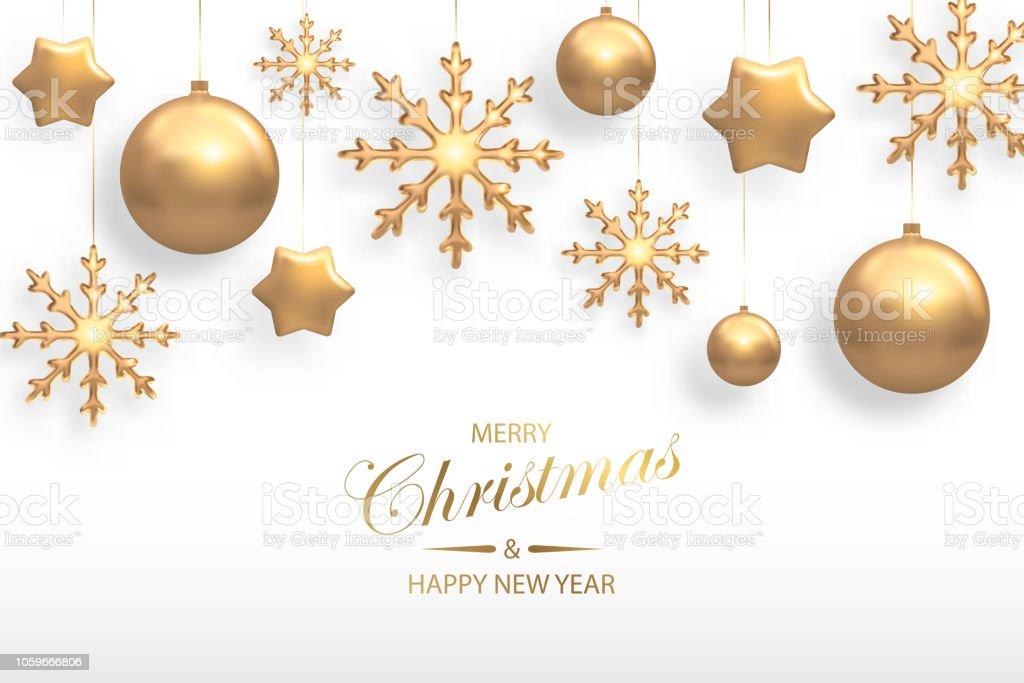 Vektorillustration av jul bakgrund med gyllene realistisk boll, stjärna, snöflinga juldekorationer isolerade på vitt. Nytt år och xmas semester vinter koncept - Royaltyfri Abstrakt vektorgrafik