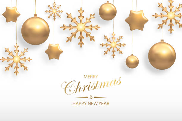 Vector illustration of Christmas background with golden realistic christmas ball, star, snowflake decorations isolated on white. New year and xmas holiday winter concept Vector illustration of Christmas background with golden realistic christmas ball, star, snowflake decorations isolated on white. New year and xmas holiday winter concept christmas ornament stock illustrations
