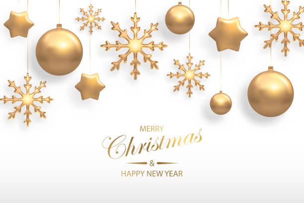 bildbanksillustrationer, clip art samt tecknat material och ikoner med vektorillustration av jul bakgrund med gyllene realistisk boll, stjärna, snöflinga juldekorationer isolerade på vitt. nytt år och xmas semester vinter koncept - julkulor