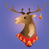 Vector illustration of  Christmas deer with bells