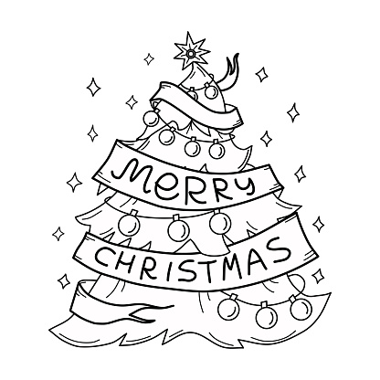 Vector illustration of Christmas tree coloring book. Holiday. Isolated background.