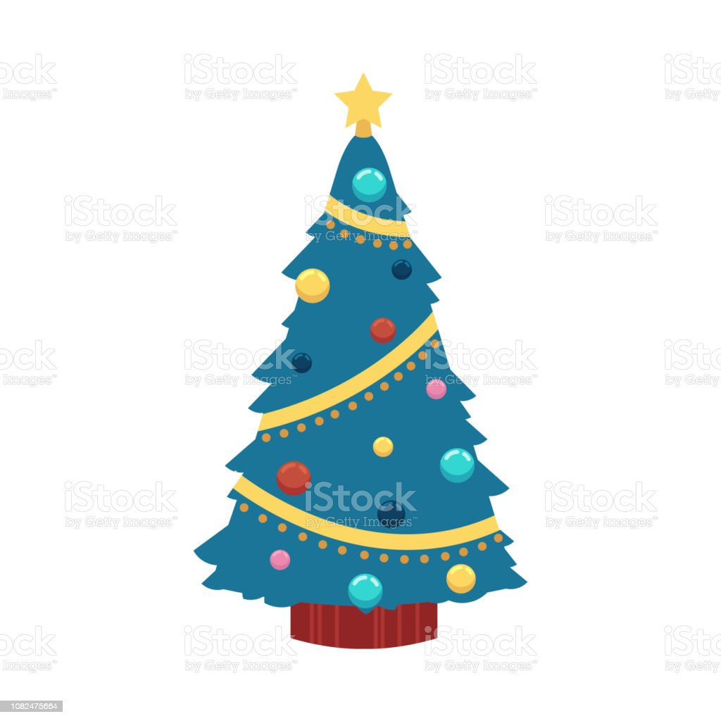 73b5e43252cef Ilustración de vector de árbol de Navidad de estilo plano - abeto decorado  con bolas y