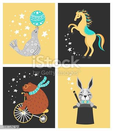 istock Vector illustration of circus animal. Cute cartoon characters 933852972