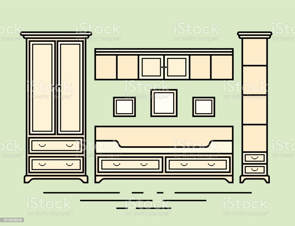 Charmant A Vector Illustration Of Classic Furniture. Pieces Of Furniture. Pale Wood  Furniture Royalty