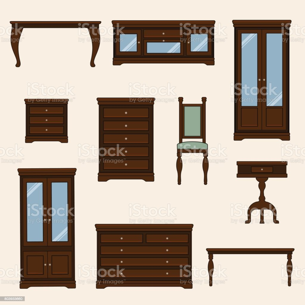 A vector illustration of classic furniture. Pieces of furniture vector art illustration