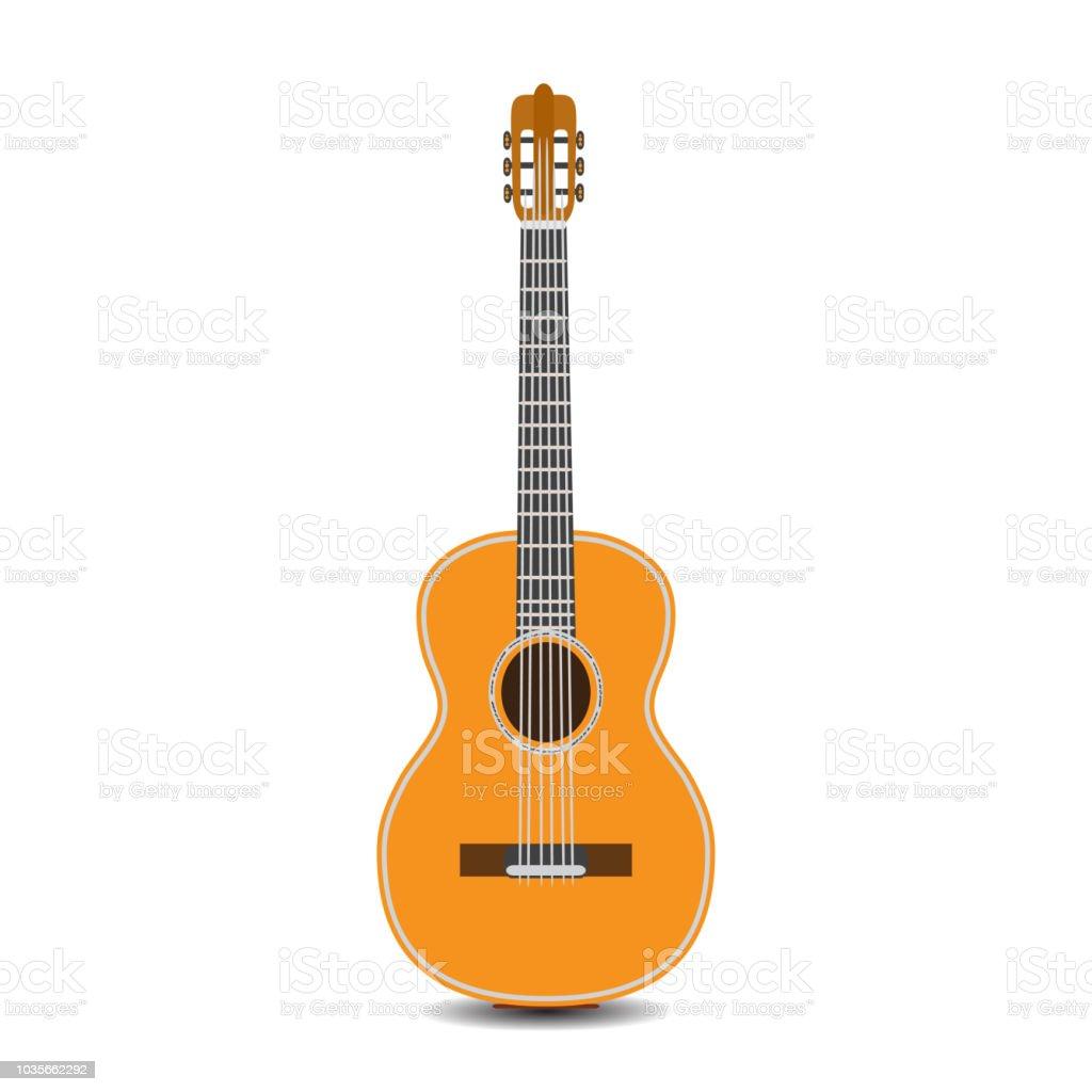 Vector illustration of classic guitar in flat style vector art illustration