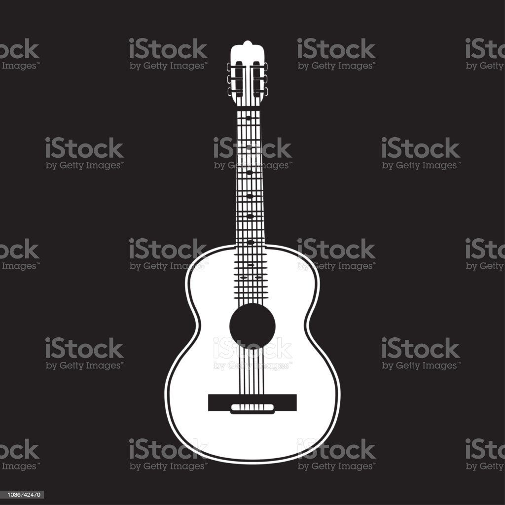 Vector Illustration Of Classic Guitar White Template Stock Vector