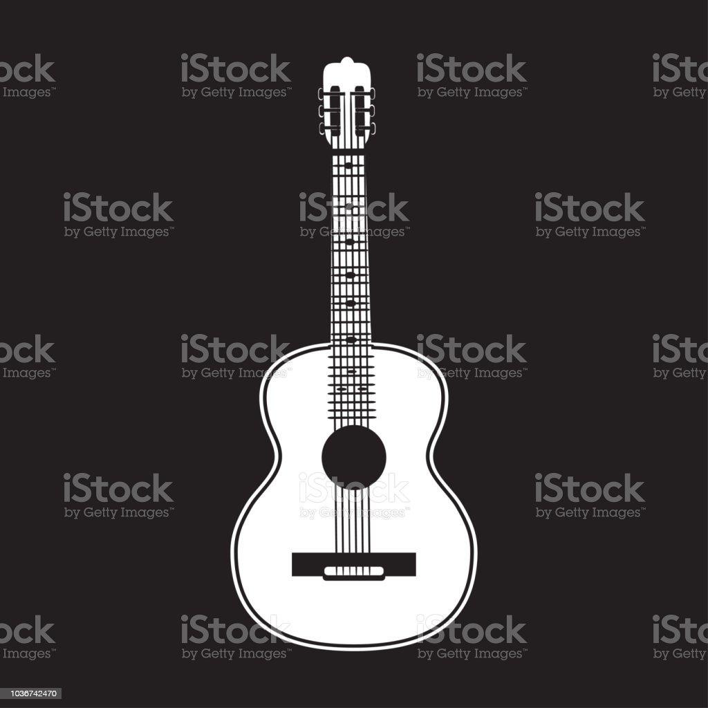 Vector illustration of classic guitar white template vector art illustration