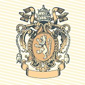 Vector illustration of classic heraldic design with king krown