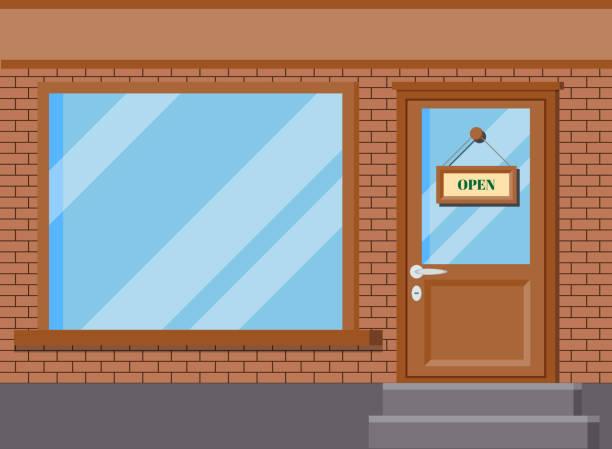 illustrations, cliparts, dessins animés et icônes de illustration de vecteur de magasin classique de bâtiment de magasin de magasin avec des fenêtres en verre - vitrine magasin