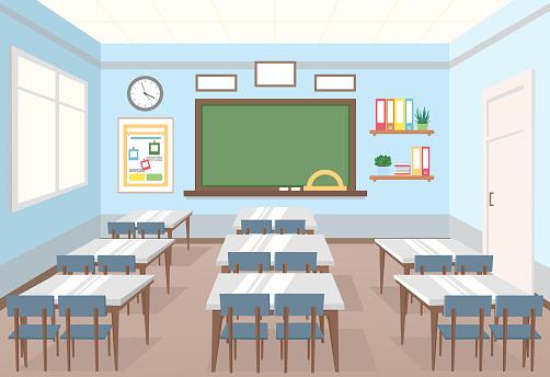 Vector Illustration Of Classroom In School Empty Interior ... (502 x 344 Pixel)